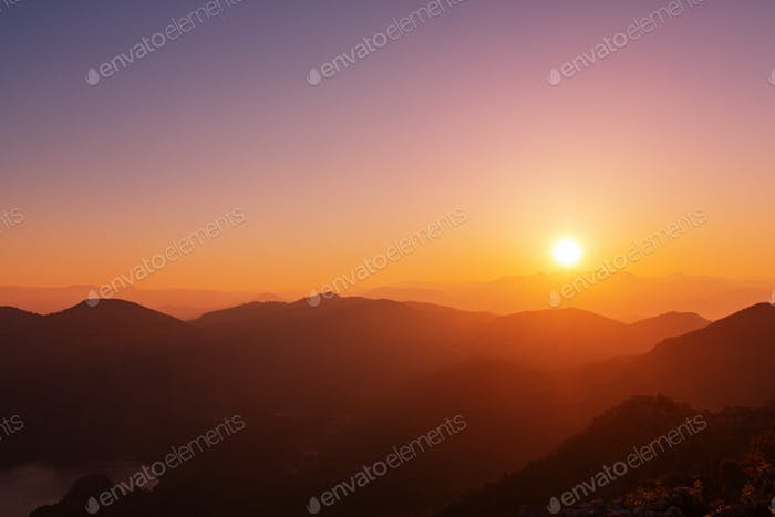 Mountains in sunset