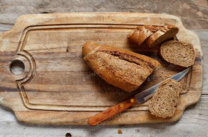 Wholemeal Bread on a Wooden Table