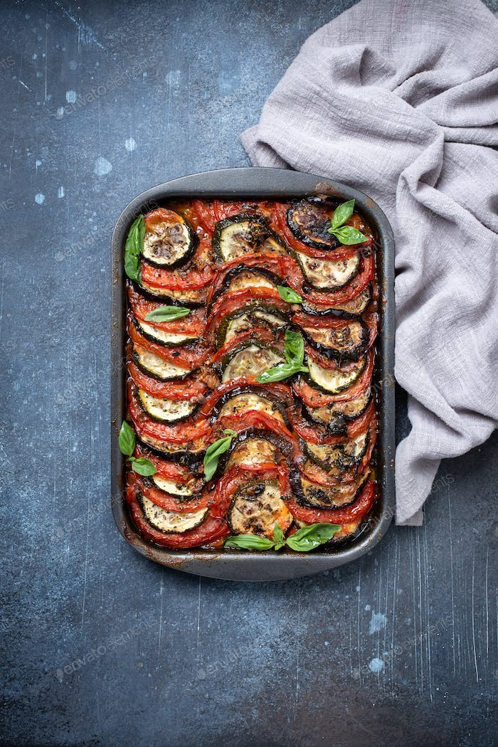 Homemade ratatouille above