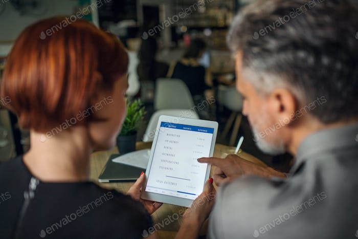 Rear view of man and woman having business meeting in a cafe, using tablet.