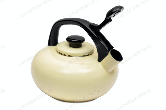 Beige tea kettle on white background