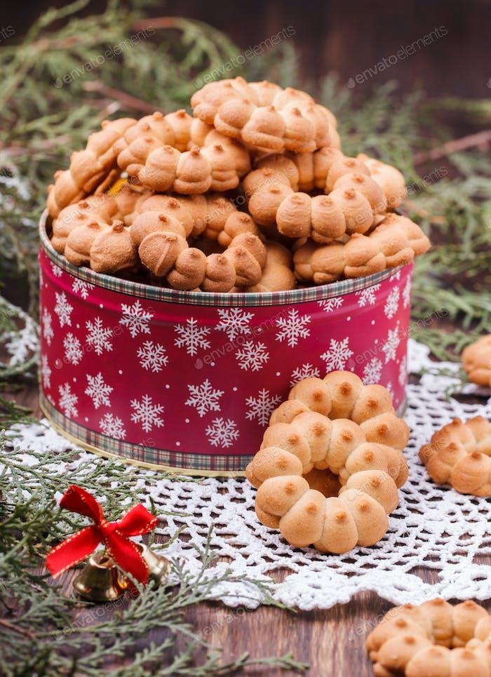 Shortbread zu Weihnachten in einer Box