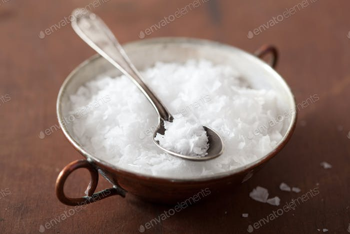 sea salt in vintage bowl and spoon