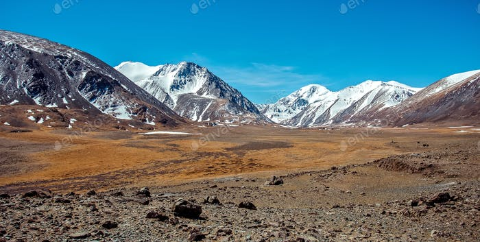 Snowy mountains. Russia, Siberia, Altai mountains, Chuya ridge.