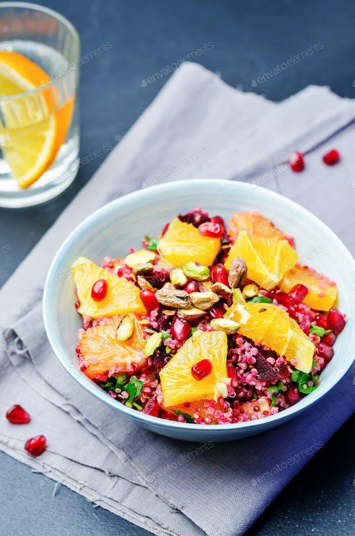 Thumbnail for Quinoa chilantro beet pistachio pomegranate salad