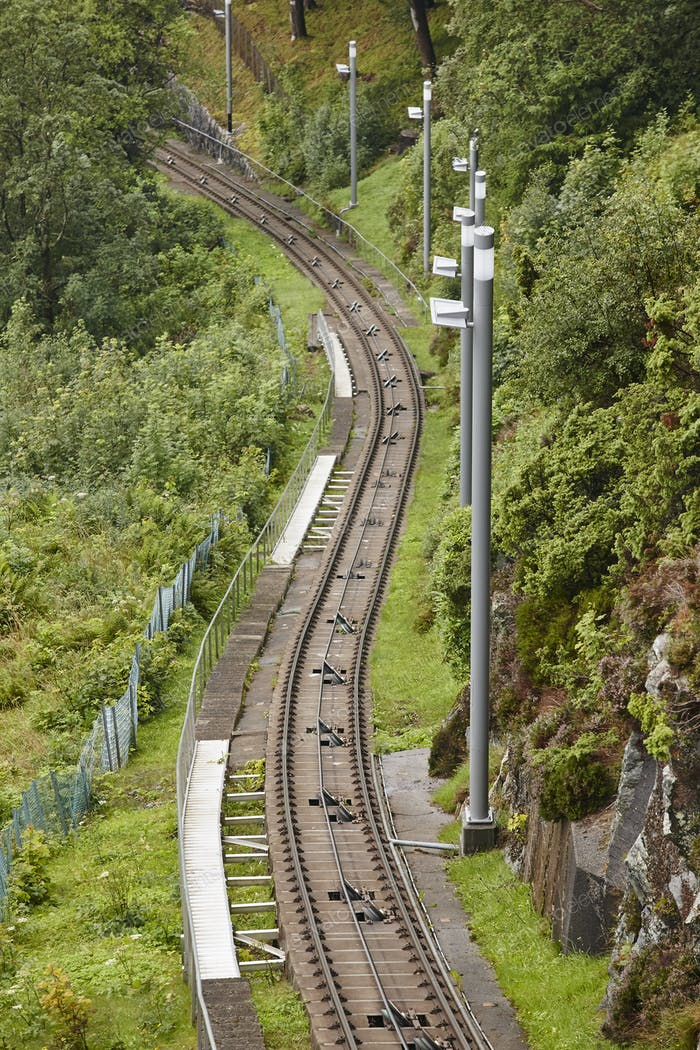 Funicular railway. Norwegian tourism highlight. Electric locomotive. Transportation. Bergen