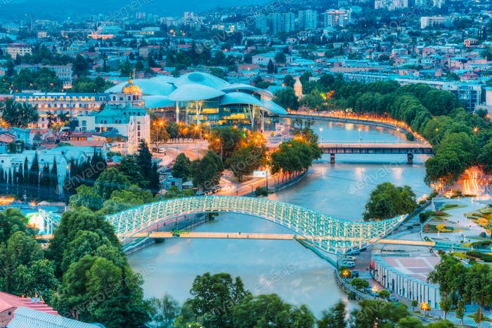 Top Illuminated Cityspape View Of Kura River Under Bridges And