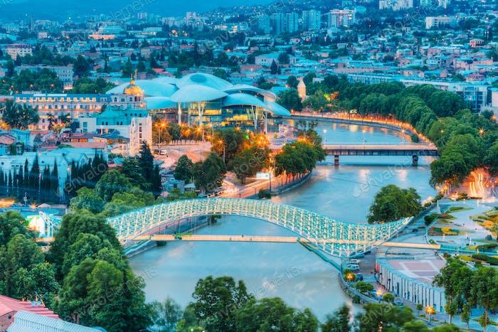 Top Illuminated Cityspape View Of Kura River Under Bridges And