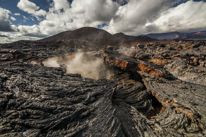 Dramatic views of the volcanic landscape. Kamchatka Peninsula.
