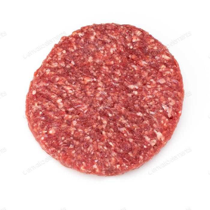 Raw fresh hamburger meat isolated on white.