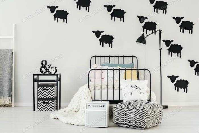 Sheep stickers in bedroom interior