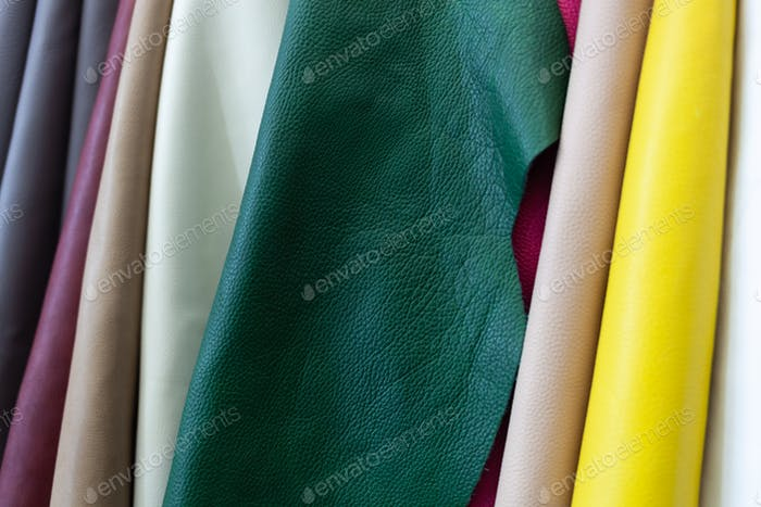 Different types and colors of leathers.