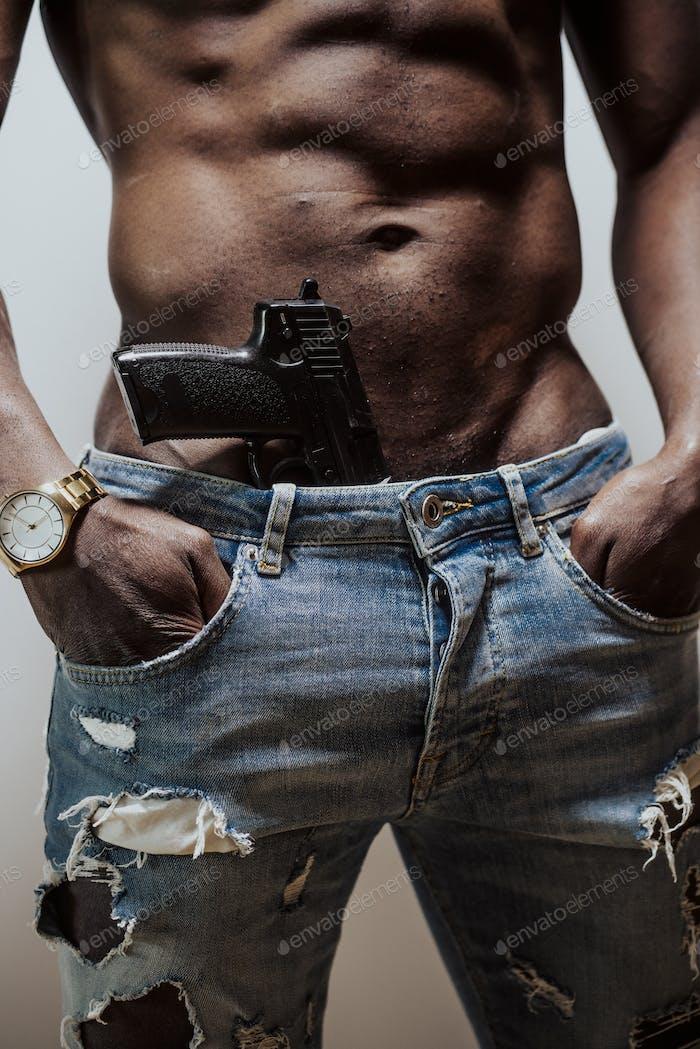 Anonymous black man with gun