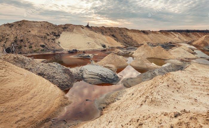 Landscape old waterlogged sand quarry