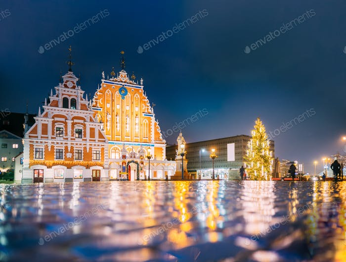 Riga, Latvia. Town Hall Square, Popular Place With Famous Landma