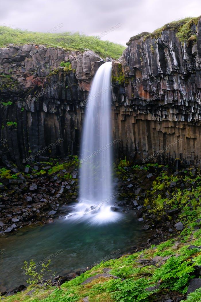 Famous Svartifoss waterfall