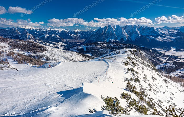 Tauplitz Alm close to Bad Mitterndorf in Styria, Austria, in winter