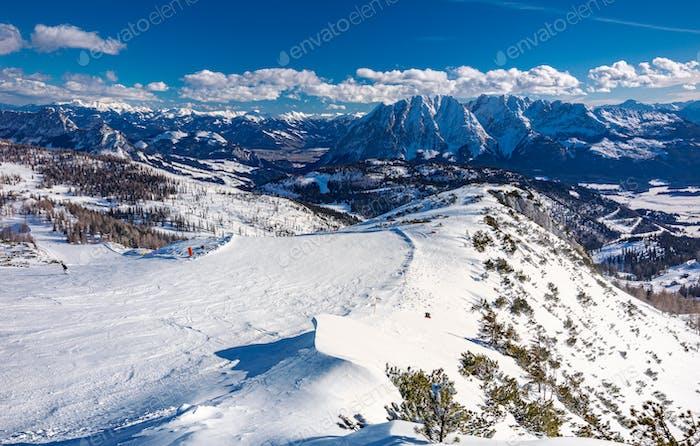 Tauplitz Alm bei Bad Mitterndorf in der Steiermark, Österreich, im Winter