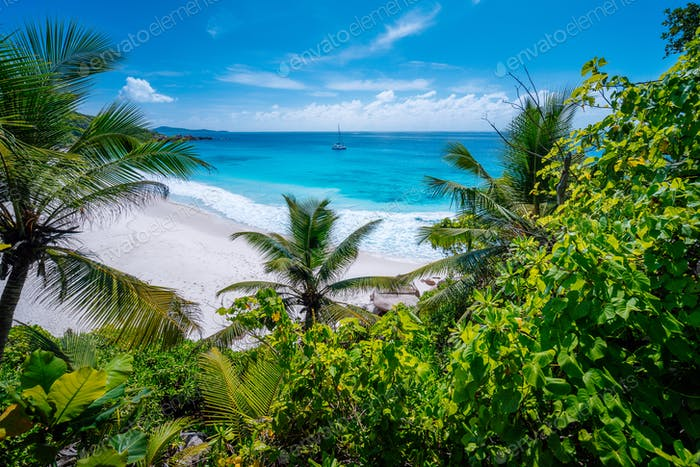Amazing wild tropical beach Petite Anse with lush vegetation on La Digue Island, Seychelles