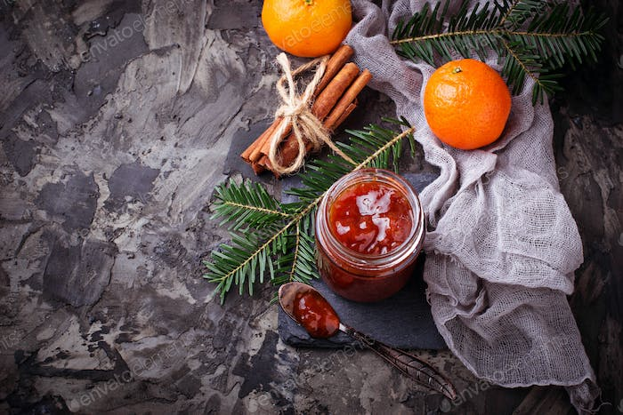 Homemade orange jam with tangerine