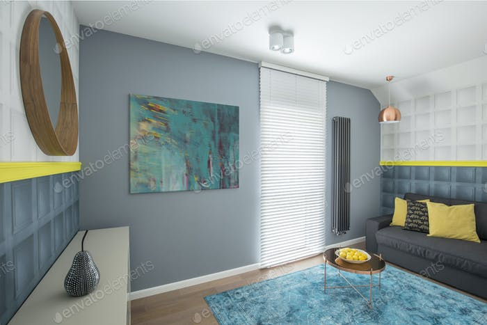 Gray interior with sofa