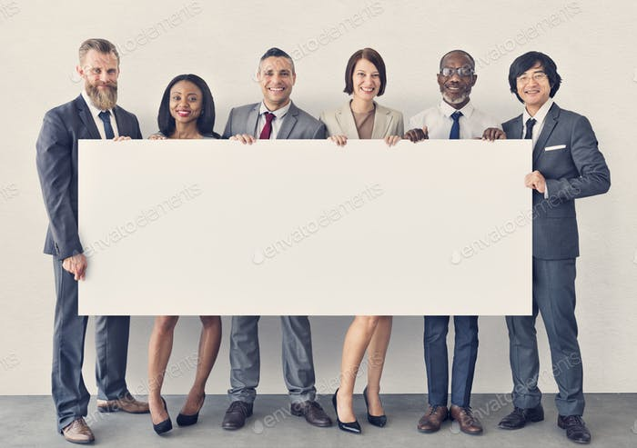 Business People Holding Information Board Konzept