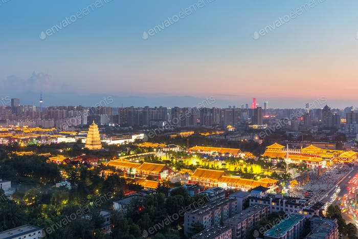beautiful xian nightfall cityscape