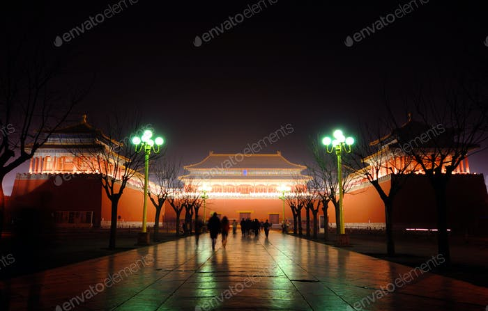 The Forbidden City in China at Night