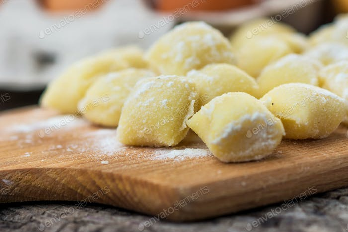 Thumbnail for Uncooked homemade gnocchi on  cutting board
