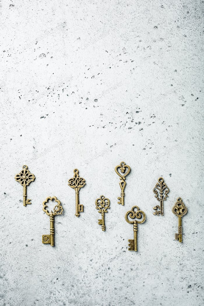 Overhead shoot of many different old keys