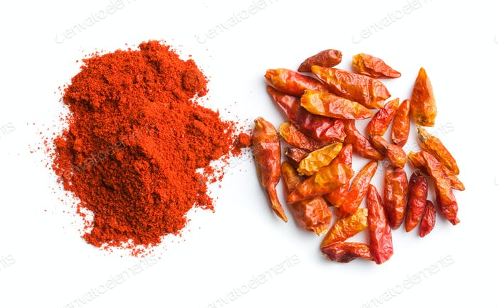 Chili pepper and powdered pepper.