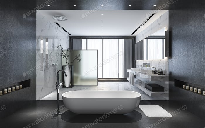 modern black stone bathroom with luxury tile decor with nice nature view from window