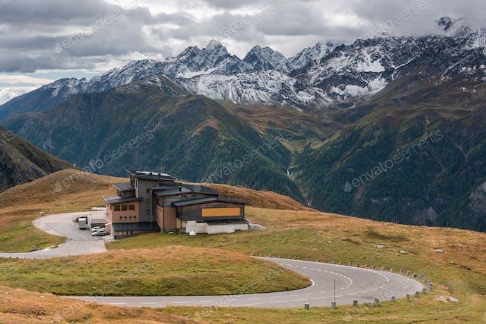 High Alpine Curvy Road in Austria Alps. Autumn Scenery at Grossg