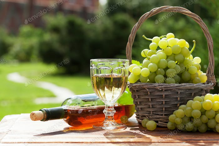 White wine and grape