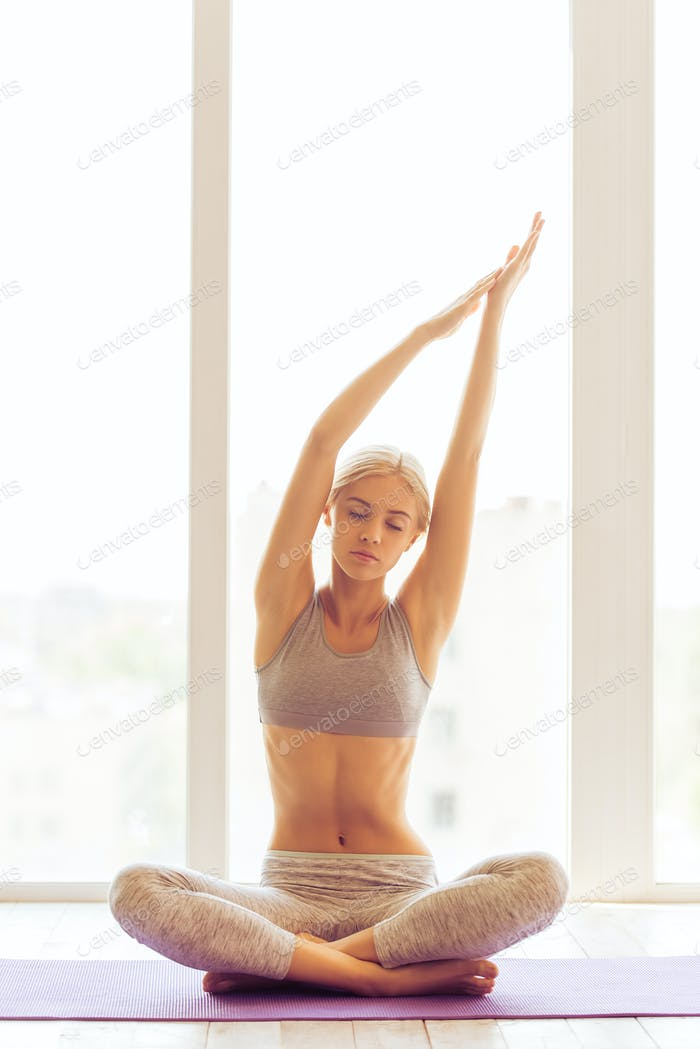 Beautiful girl doing yoga