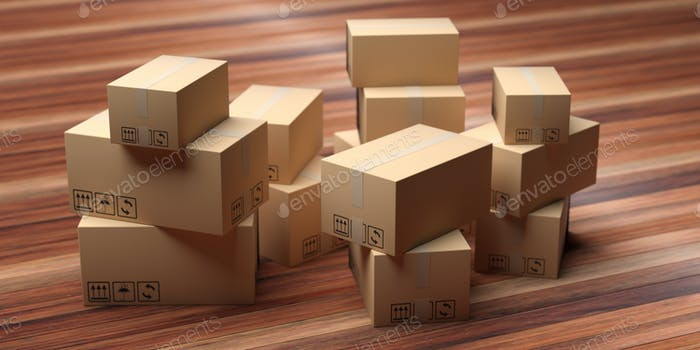 Cardboard packages stack on wood floor. 3d illustration
