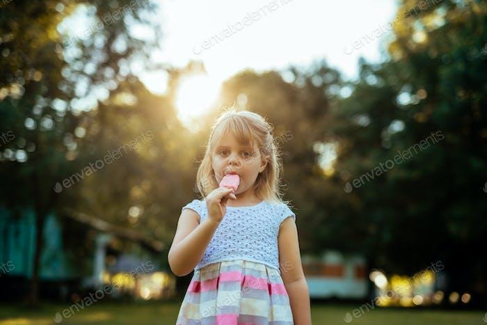 Enjoying an icecream