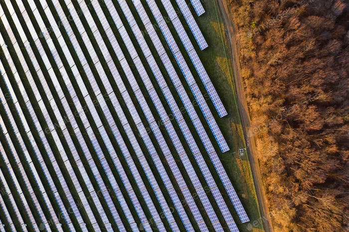 Solar panels - drone view