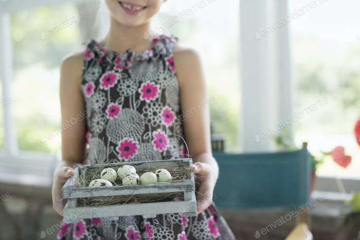 A young girl in a floral dress, examining a clutch of speckled bird eggs in a box.