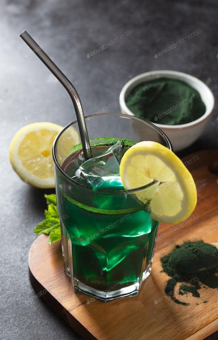 Green drink prepared with chlorella. Detox superfood