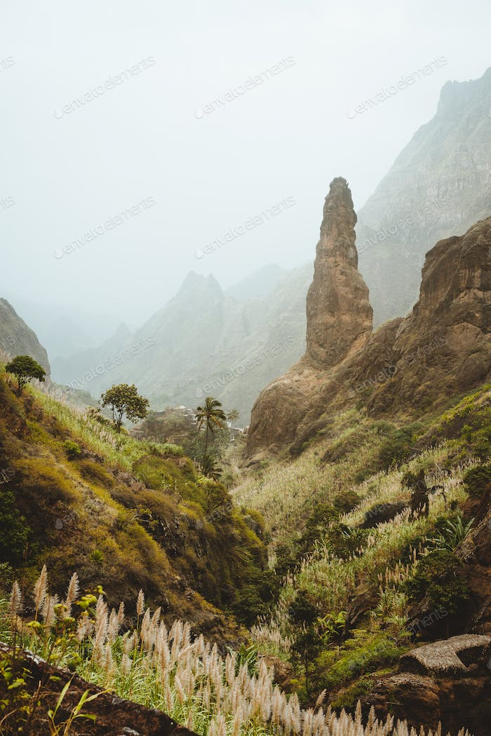 Santo Antao. Cape verde. Xo-Xo valley with amazin mountain peaks. Many cultivated plants growing in
