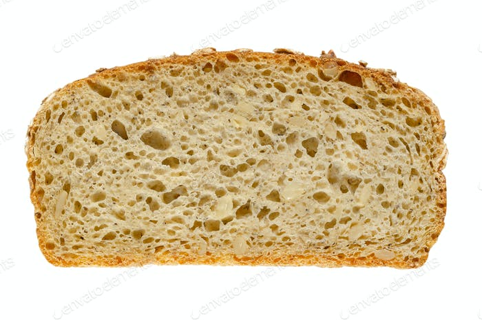 Slice of spelt bread, brown sourdough bread, from above