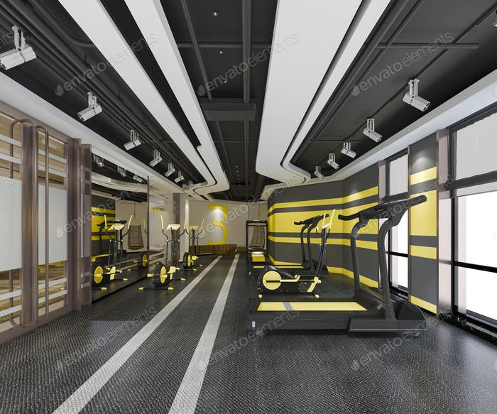 3d rendering modern yellow gym and fitness