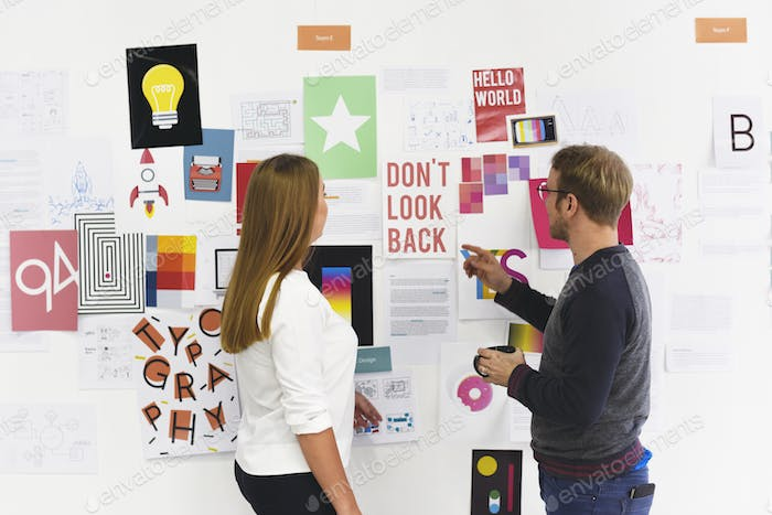 Startup Business People Looking on Strategy Board Information Th