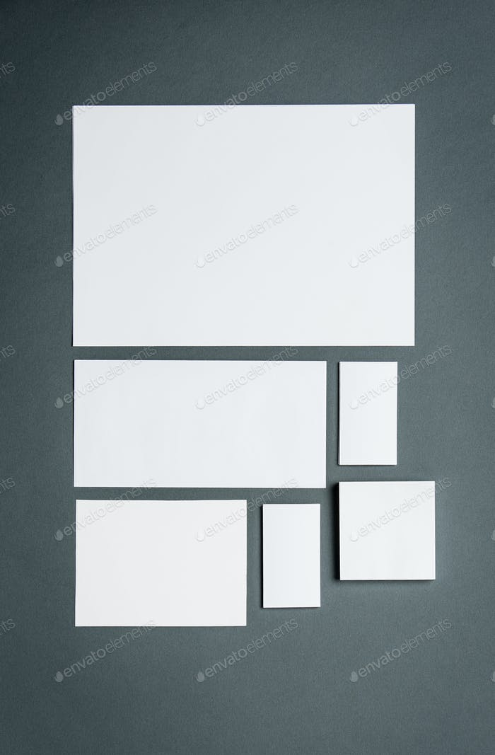 Mock-up business template with cards, papers. Gray background.