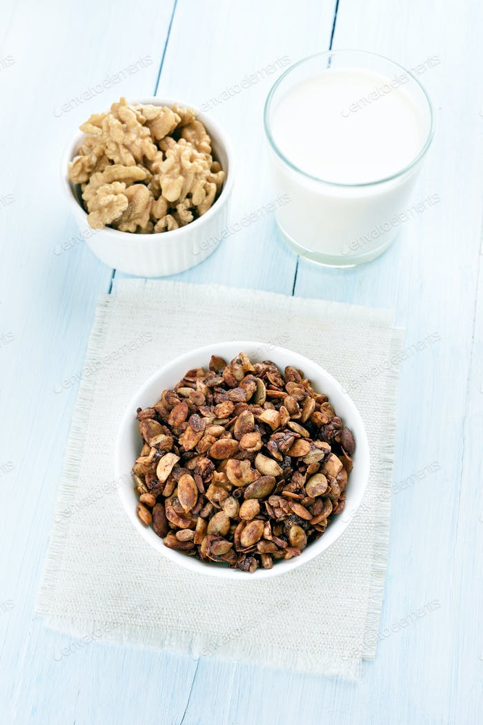 Breakfast granola and milk