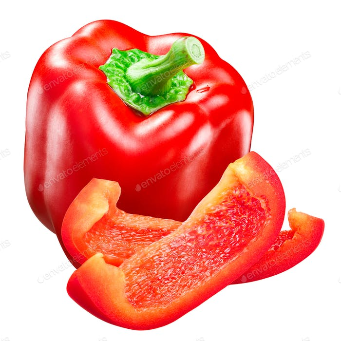 Red bell pepper whole and slices c. annuum