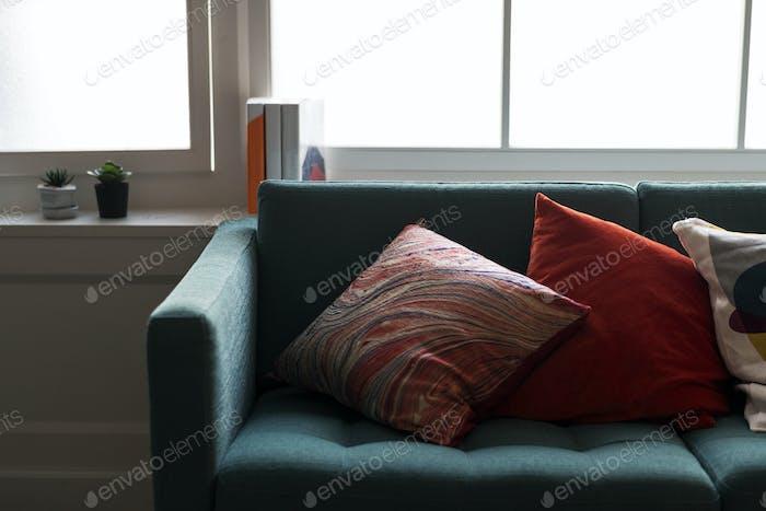 Closeup of comfy sofa