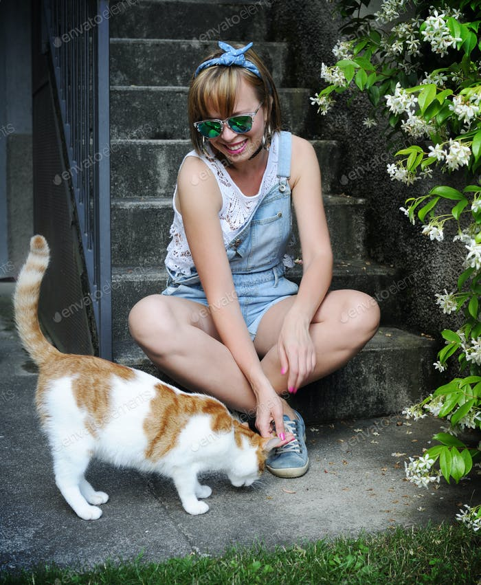 pretty girl with a cat