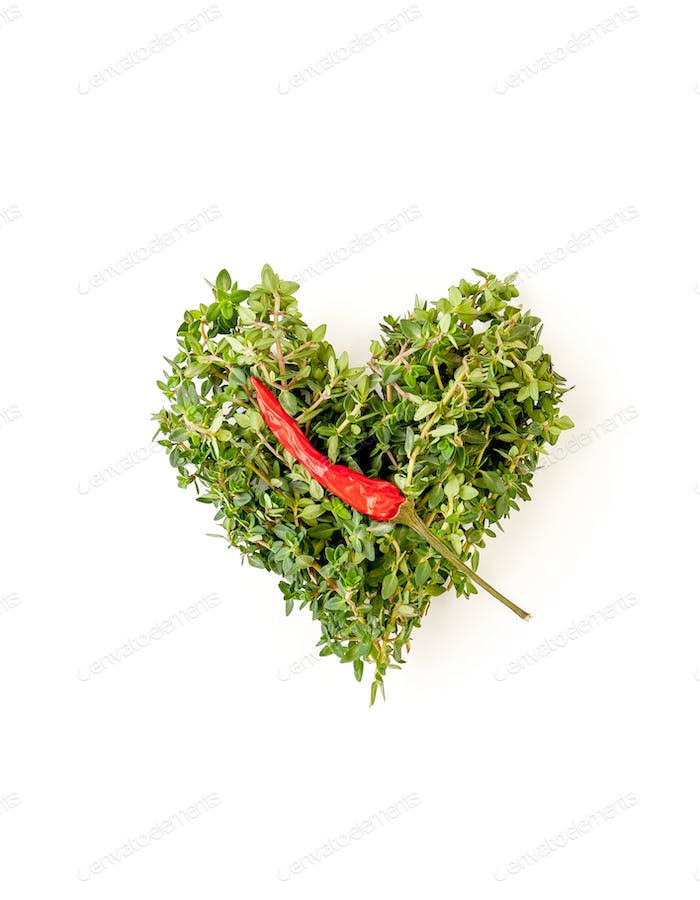 Heart of fresh thyme branches and chili pepper on a clean white